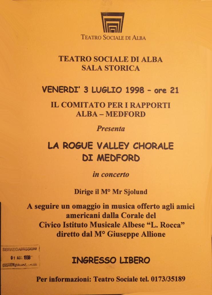Alba, Italy Concert Flyer
